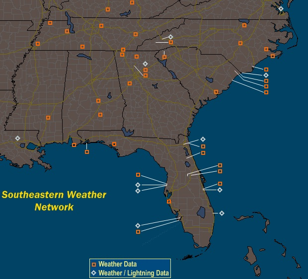 Mesomap of Southeastern Weather Network Stations